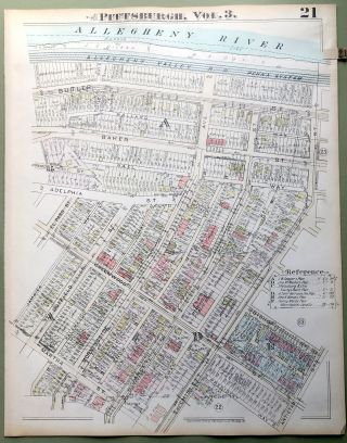 1924 Pittsburgh Plat Map 23x18: Morningside North