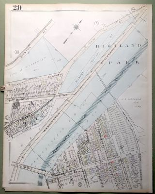 1924 Pittsburgh Plat Map 23x18: Washington Blvd