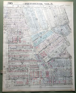 1924 Pittsburgh Plat Map 23x18: Homewood - Brushton