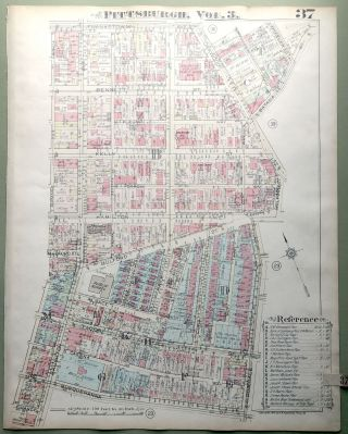 1924 Pittsburgh Plat Map 23x18: Homewood (East