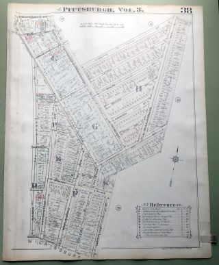 1924 Pittsburgh Plat Map 23x18: East Hills (South)