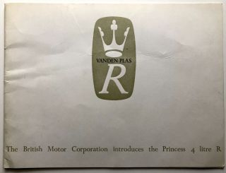 1964 brochure BMC Vanden Plas Princess R 4 litre. British Motor Corporation