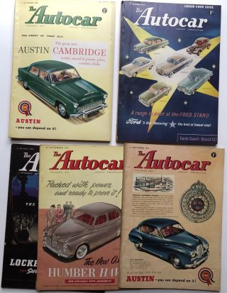 22 issues from 1954 of THE AUTOCAR English magazine