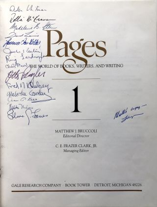 Pages 1, The World of Books, Writers and Writing - editor's copy signed by many contributors