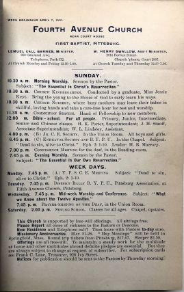 Fourth Avenue Baptist Church, Pittsburgh, Annual Reports, 1895, 1896, 1897, 1898, 1901-1902, plus weekly schedules for 1901-1902