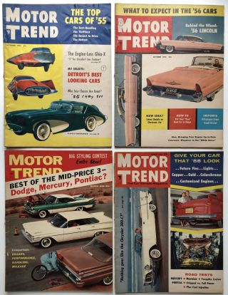 Motor Trend magazine, 4 issues 1955-1959