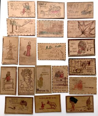 27 leather postcards from 1904-1910