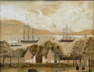 Ca. 1862 original watercolor view of Lough Foyle from Limefield, Ballynally, Moville, County Donegal, showing Conolly Dysart's home and family