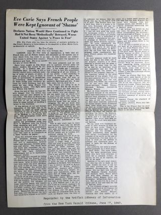 "1940 offprint of NY Tribune op-ed ""French People Were Kept Ignorant of 'Shame'"" Eve Curie"