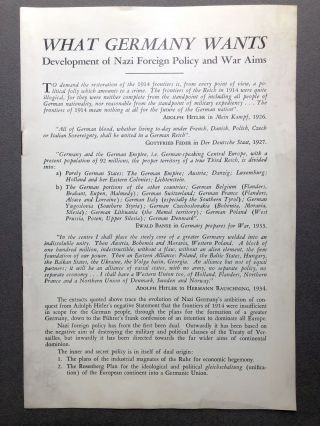 What Germany Wants: Development of Nazi Foreign Policy and War Aims. British Library of Information