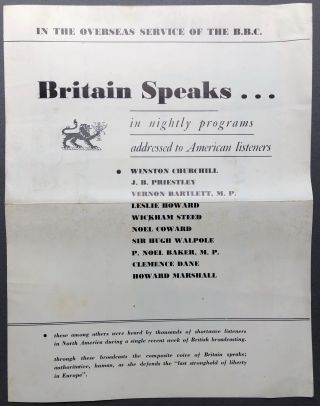 In the Overseas Service of the B.B.C.: Britain Speaks...in nightly programs addressed to American...