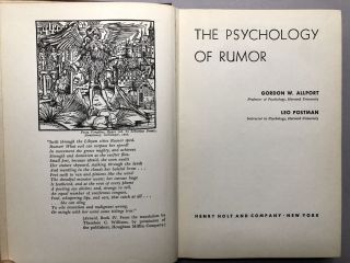 The Psychology of Rumor - inscribed by both to Stuart Chase