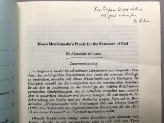 Moses Mendelssohn's Proofs for the Existence of God - inscribed to Wilfrid Sellars