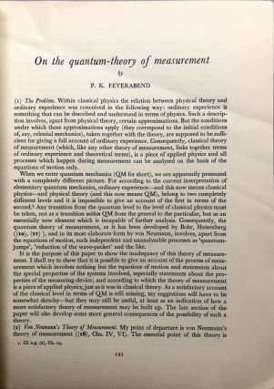 Offprint from Vol. IX of the Colston Papers: On the Quantum-Theory of Measurement [and] An Analysis of Measurement