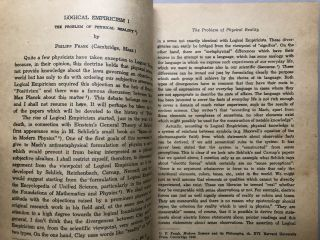 Communications of the Institute for the Unity of Science, offprint from Synthese 1948-1949: Logical Empiricism, the Problem of Physical Reality (Frank), Positivism and Realism (Shlick), The Role of Models in the Natural and Social Sciences (Deutsch)