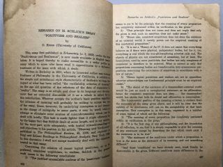 Communications of the Institute for the Unity of Science, offprint from Synthese 1948-1949: Positivism and Realism (Shlick), Remarks on Positivism and Realism (Rynin)