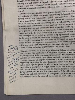 Review of Philosophical Perspectives by Sellars, extracted from Journal of Philosophy, March 13, 1969, with Sellars' notes on Harman's review