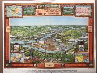 """""""Pittsburgh in 1889; Pittsburgh in 1939"""" birds eye views in color of Pittsburgh, with captions"""