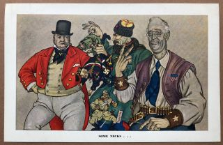 """Set of 6 """"Esky Cards"""" caricatures of Nazis etc. from 1942"""