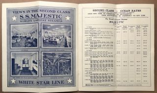 January 1925 brochure leaflet: White Star Line Second Class Rates