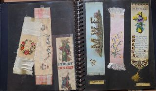 Album of 19th and early 20th century bookmarks: silk, embroidered, cross stitched, printed, Stevengraph, etc.