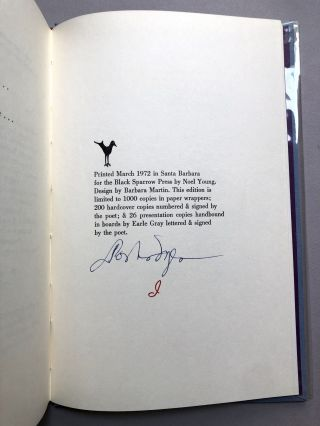 The Will of Eros, Selected Poems 1930-1970, one of 26 lettered signed copies