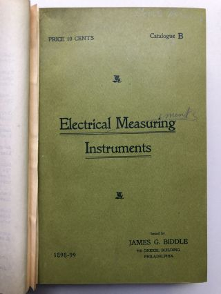 Bound volume of 11 catalogs or booklets on electrical measurement instruments, etc., 1898-1919
