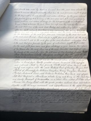"""18th century copy of a large legal document from 1641 providing """"four poor men"""" with money and lodging in Carmarthen, Wales"""