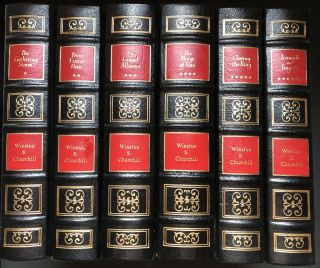 The Second World War, 6 vols, Easton Press full leather: The Gathering Storum, Their Finest Hour, The Grand Alliance, The Hinge of Fate, Closing the Ring, and Triumph & Tragedy