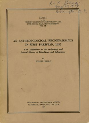 An Anthropological Reconnaissance in West Pakistan, 1955; With Appendixes on...