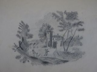 19th Century New England Girl's Sketchbook, with 38 Charming Pencil Drawings