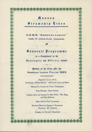 Brazilian American, The Only American Weekly in South America, Volume 7, Number 173, February 17, 1923, with A Souvenir Program and Passenger List for Munson Steamship Lines U.S.M.S. 'American Legion'
