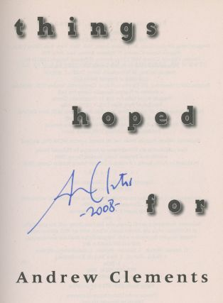 Things Hoped For, Signed by Andrew Clements
