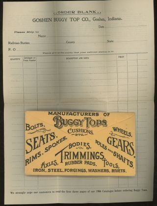 Goshen Buggy Top Co, Manufacturers of Buggy Tops, Cushions, Etc. Order Form, 1906. Goshen Buggy...