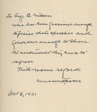 Frontiers of Freedom, Inscribed by Newton D. Baker