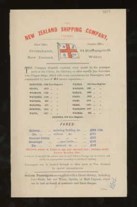 New Zealand Shipping Company Sailing Schedule and Rates of Passage, London to New Zealand, 1877....