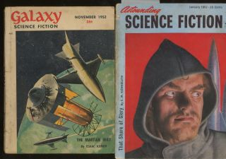 Group of 8 Science Fiction Periodicals, Including Astounding Science Fiction, January 1952,...