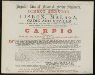 Robert Mac Andrew and Co Sailing Announcement For the Steamer Carpio, London to Portugal and...