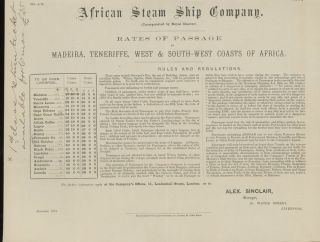 African Steam Ship Company Rates of Passage to Madeira, Teneriffe, West and South- West Coasts of...