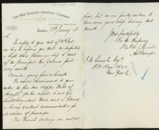 """New Zealand Shipping Company Sailing Schedule and Rates of Passage for the Iron Clipper """"Duke of Argyll"""", England to New Zealand, With Letter of Transmittal on New Zealand Shipping Company Letterhead"""