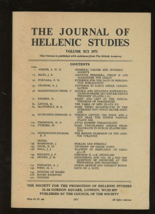 The Journal of Hellenic Studies, Volume XCI, 1971. O. Kember A. Adkins, M. L. West, J. Killeen