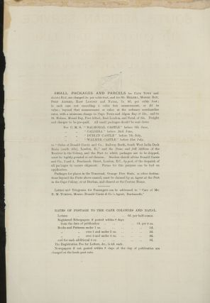 Colonial Mail Line of Steamers Broadside, With Sailing Schedule and Rates of Passage to South Africa, and Letter of Transmittal from Donald Currie and Company
