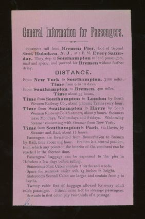 North German Lloyd Steamship Co. Rates of Passage From New York to Southampton, Havre, London, and Bremen, 1877