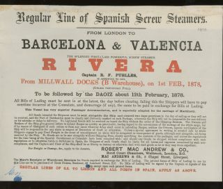 Robert Mac Andrew and Co. Regular Line of Spanish Screw Steamers, Sailing Announcement for the...