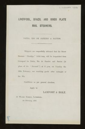 "Lamport and Holt Sailing Notice for the Screw Steamer ""Bendigo"" From Liverpool to Bahia, Rio de..."