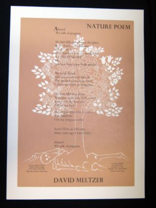 Nature Poem (Broadside). David Meltzer, Janeen Vanden Berg, Noel Young