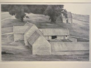 Hornsleasows Farm #1; in Memory of Mary Webb 1881-1927. Original lithograph. Francis Adams Comstock