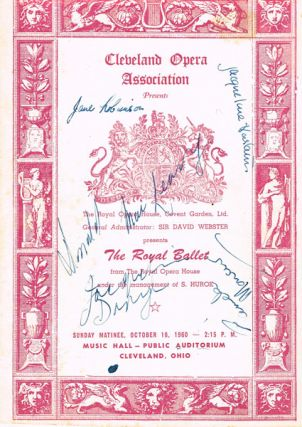 Cleveland Opera Association presents The Royal Ballet, 1960. SIGNED