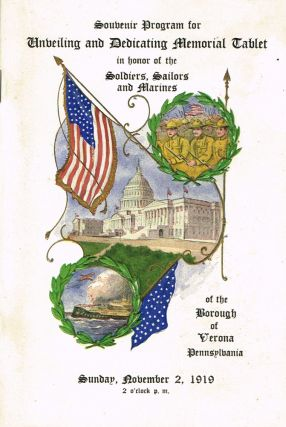 Souvenir Program for Unveiling and Dedicating Memorial Tablet in Honor of the Soldiers, Sailors,...