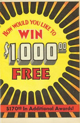 """How Would You Like to Win $1,000 Free"" (Cover title for a Knox Distribution Co. advertisement)...."